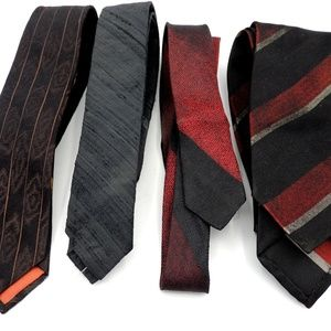 Other - 4 Vintage Skinny Ties Raw Silk Rayon Retro Cool